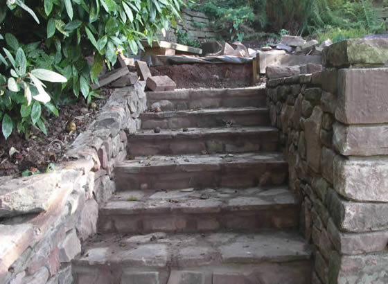 Stone steps, stone retaining walls