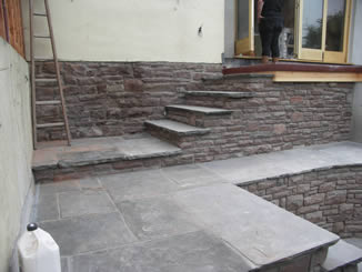 Dressed sandstone, reclaimed treads and landings
